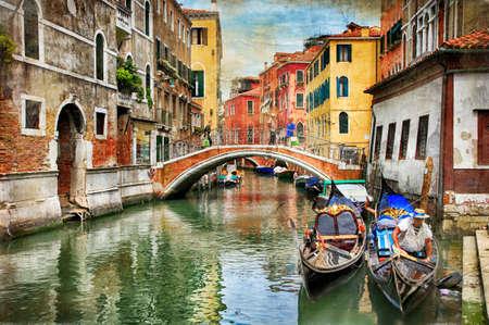 Romantische Venetiaanse kastelen - kunstwerk stijl in de schilderkunst Stockfoto