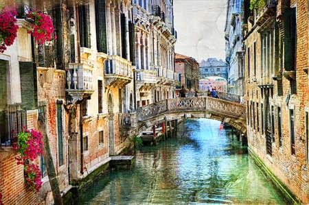 로맨틱 베네치아 성 - 그림 스타일의 삽화