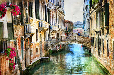 Romantic Venetian castles - artwork in painting style Stock Photo - 64898625