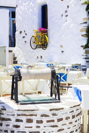 naxos: charming traditional restaurants decorations in Naxos island, Greece