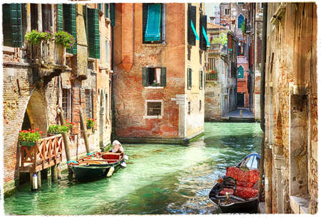 painting art: romantic Venetian canals - artwork in painting style Stock Photo