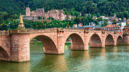 Medieval Heidelber town, view with old bridge and castle Stock Photo