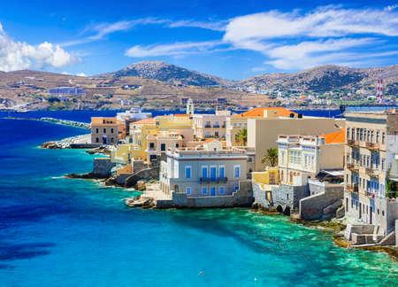 the little venice: Syros island - little Venice, Greece, cyclades Stock Photo