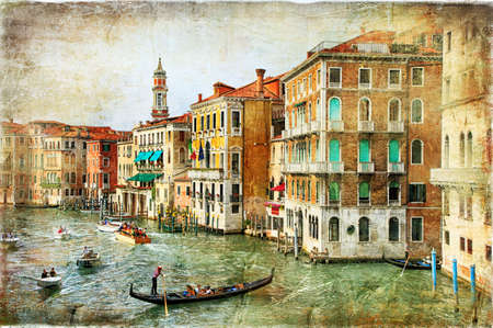 romantic Venice - artwork in painting style Stock Photo
