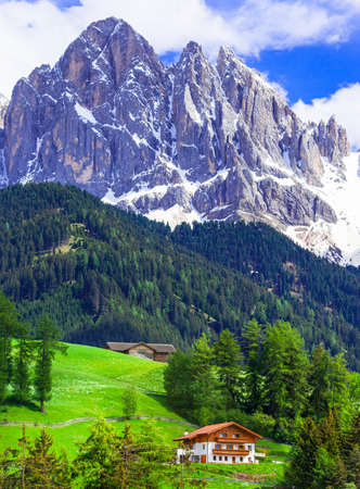Beauty in nature - green meadows of Dolomites mountains, Italy