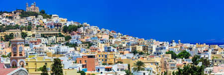 Pictorial Greek islands - Syros, panoramic view of Ano syros village