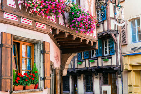 old windows: traditional Alsace architecture, Strasbourg. France Stock Photo