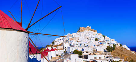 chora: Traditional greek islands - Astypalea, view of Chora and windmills Stock Photo