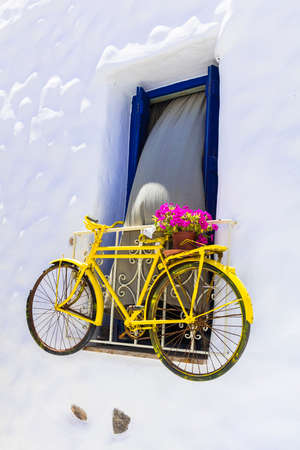naxos: cute street decoration with old bike, Naxos, Greece
