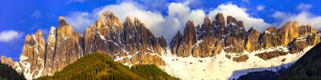 tal: impressive Dolomites mountains over sunset, North of Italy