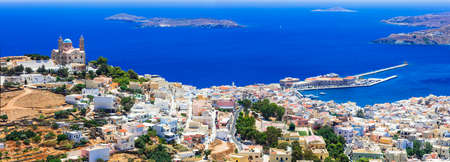 Panoramic view of Syros island, Cyclades, Greece