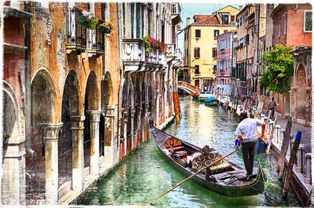 painting art: romantic Venice - artwork in painting style Stock Photo