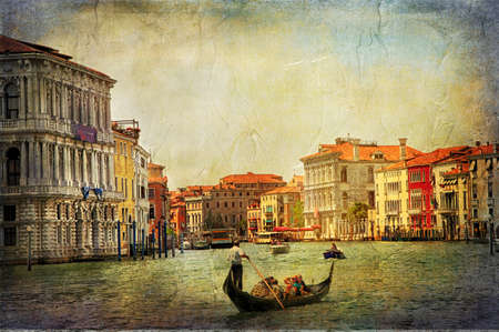 romantic Venetian canals - artwork in painting style 版權商用圖片