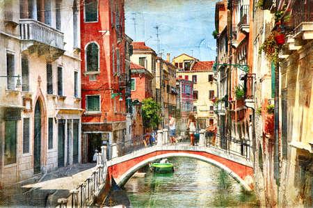 낭만적 인 베니스 - 그림 스타일의 삽화 스톡 콘텐츠