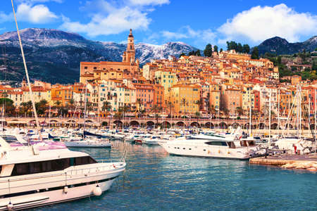 menton: Beautiful french riviera - Menton town with yachts