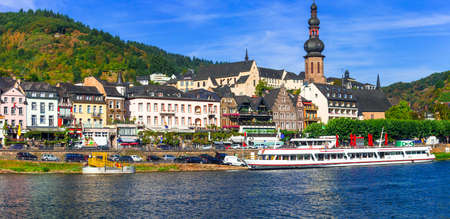 Travel in Germany - beautiful Cochem town, Rhein river cruises 免版税图像