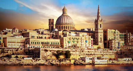 beautiful Valletta town over sunset. Malta