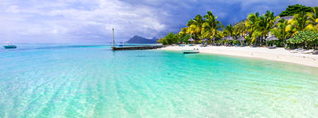 Amazing white beaches of Mauritius island.Tropical vacation.