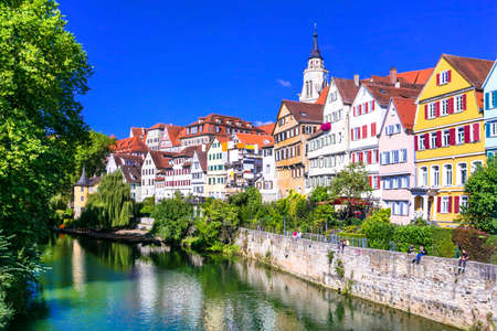 Pictorial Tubingen old medieval town in Germany, Multicolored houses and river. Stock Photo