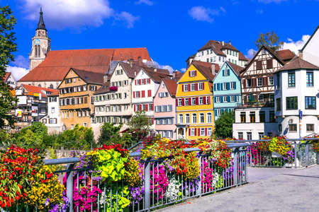 Beautiful Tubingen old town, traditional houses and floral decoration.Germany. Stock Photo