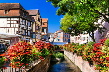 the little venice: Traditional houses, flowers and river in Colmar, Alsace, France.