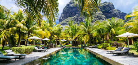 relaxing spa territory with tropical garden and swim pool in Mauritius island Banco de Imagens - 68013053