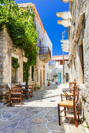 Charming streets of Greek villages. Naxos island