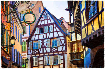 unique characteristics: Strasbourg old town. half timbered houses, traditional for Alsace region. France