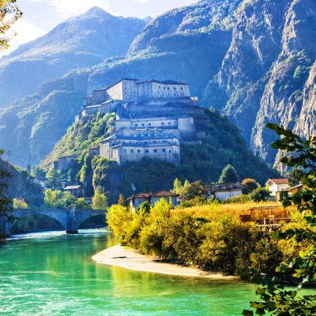 aosta: Bard fortess in Alpine mountains - Valle dAosta, Italy