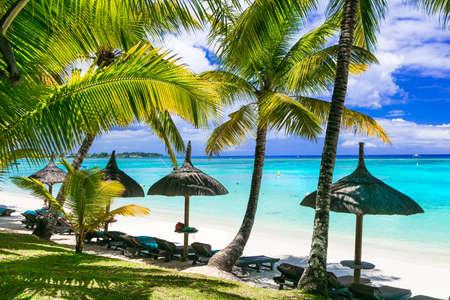 playas tropicales: Idilyc vacaciones tropicales - playas de arena blanca de Mauricio Foto de archivo