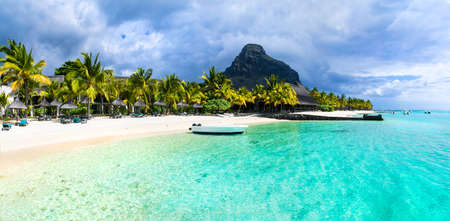 Tropical holidays - white sandy beaches of Mauritius island