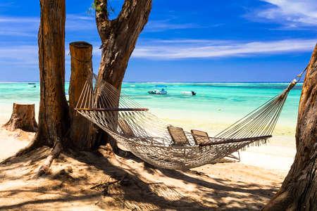 Tropical paradise in Mauritius island, relaxing in hammock
