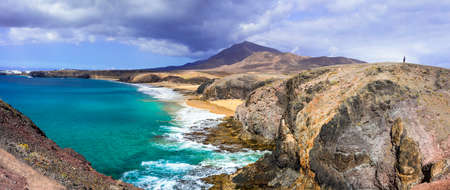 Incredible nature in Lanzarote island, Azure sea and volcanic rocks, Spain.