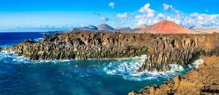 Beautiful nature in Lanzarote island, Los Hervideros, Spain. Stock Photo