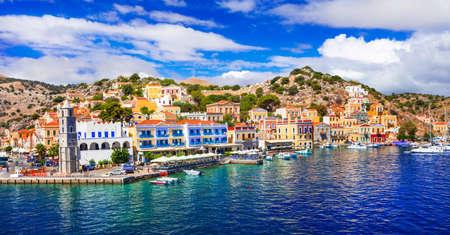 halki: Panoramic view of Symi Island, Dodecanese, Greece.