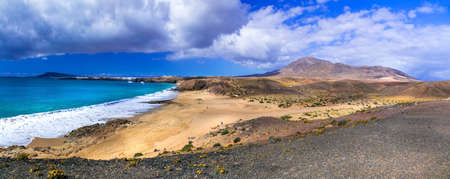 Incredible nature in Lanzarote island, Papagayo Beach, Canary, Spain. Stock Photo