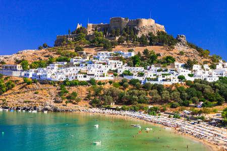 Beautiful Rodhes island, panoramic view of Lindos bay, Greece.
