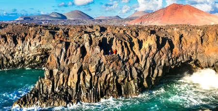 Impressive rocks in Lanzarote island, Canary, Spain.Los Hervideros.
