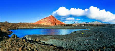 Beautiful incredible nature in Lanzarote island, volcanic landscape, Spain. Stock Photo