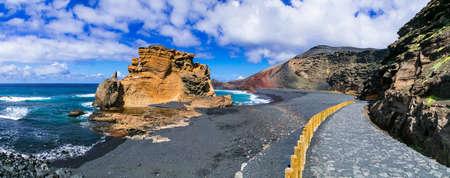Incredible nature in Lanzarote island, El Golfo, Canary, Spain.
