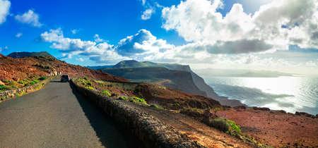 Panoramic view of Mirador del Rio, Lanzarote island, Canary, Spain.
