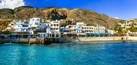 chora: Beautiful village Chora Sfakion, Crete island, Greece. Stock Photo