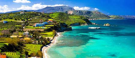 Beautiful village Almyrida, Crete island, Greece. Reklamní fotografie - 75164114