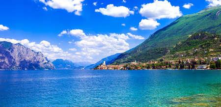 Beautiful Lake Garda, Panoramic view of village Malcesine, Italy.
