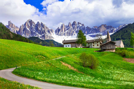tal: Incredible nature in Dolomites mountains, North Italy. Stock Photo