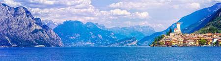 panoramic view: Panoramic view of Lake Garda, Malcesine village, Italy.