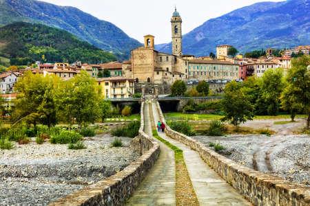 Panoramic view of medieval village Bobbio, Italy.