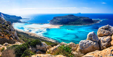 Incredible nature in Balos Bay, Crete island, Greece.