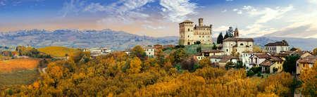 Panoramic view of Grinzane Cavour,Piemonte,Italy.