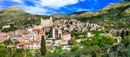 Beautiful Itri village,view with fortress and houses,Lazio,Italy. Stock Photo